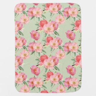 Pretty Pink Garden Flowers Watercolor Receiving Blankets