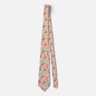Pretty Pink Garden Flowers Watercolor Tie