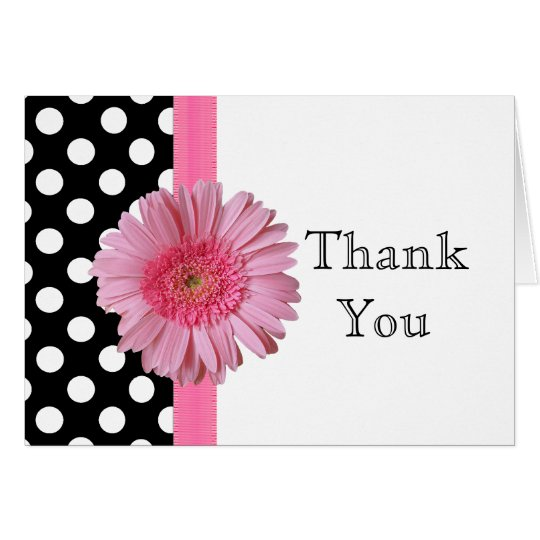 Pretty Pink Gerber Daisy Thank You Note Card