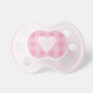 Pretty PInk Gingham Heart Pacifier