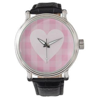 Pretty Pink Gingham Heart Watch