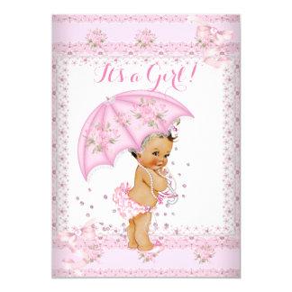 "Pretty Pink Girl Baby Shower Floral Umbrella BR 5"" X 7"" Invitation Card"
