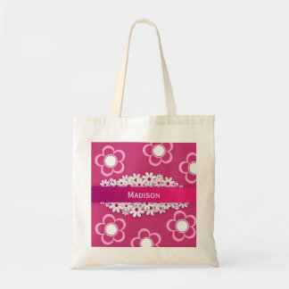 Pretty Pink & Girly w/Daisies Tote Bag