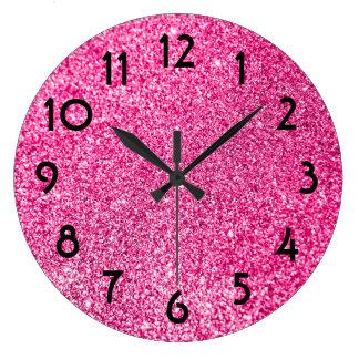 Pretty Pink Glitter Photo Large Clock