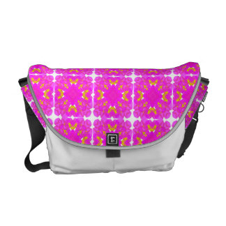 Pretty Pink Gold Floral Repeat Pattern Courier Bag