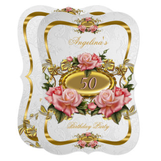 Pretty Pink Gold Roses White 50th Birthday Party Card