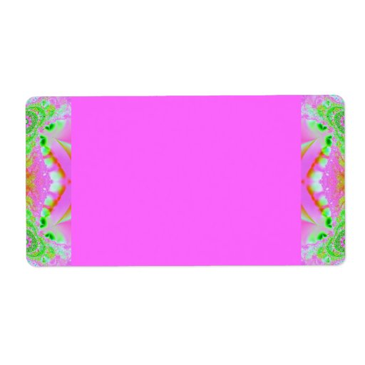 pretty pink green fractal shipping labels
