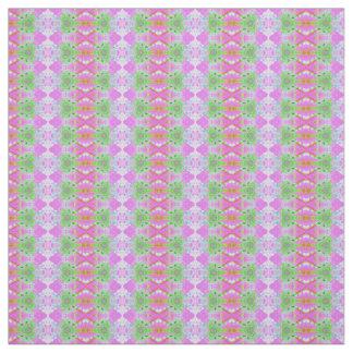 Pretty pink green jewel fractal pattern fabric