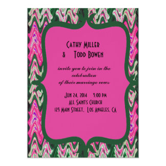Pretty Pink Green Modern Wedding Invitations