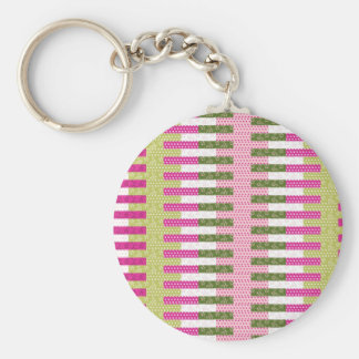Pretty Pink Green Patchwork Quilt Design Gifts Basic Round Button Keychain