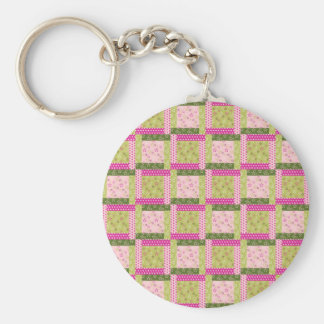 Pretty Pink Green Patchwork Squares Quilt Pattern Keychains