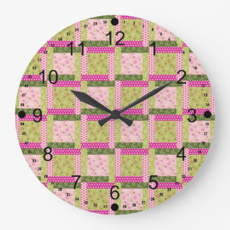 Pretty Pink Green Patchwork Squares Quilt Pattern Large Clock