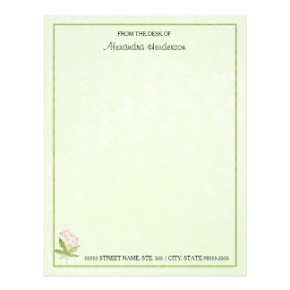Pretty Pink Green Watercolor Wildflower With Name Custom Letterhead