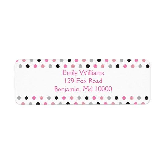 Pretty Pink grey and black polka dots
