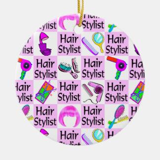 PRETTY PINK HAIR STYLIST CHRISTMAS ORNAMENT