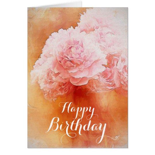 Pretty Pink Happy Birthday Peonies Card