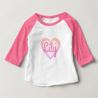 Pretty Pink Heart Customisable 3/4 Sleeved Top