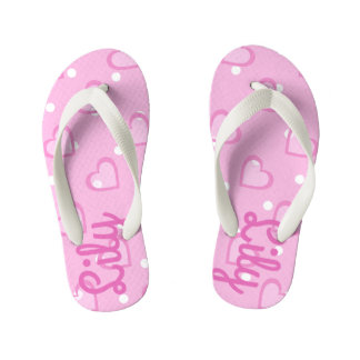 Pretty Pink Heart Customisable Kids Flip Flops