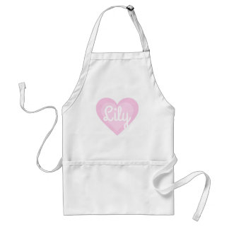 Pretty Pink Heart Customisable Name Standard Apron