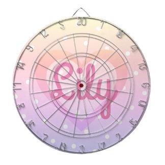 Pretty Pink Heart Customisable Polka dot Dartboard