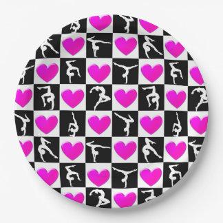 PRETTY PINK HEART GYMNASTICS DESIGN PAPER PLATE