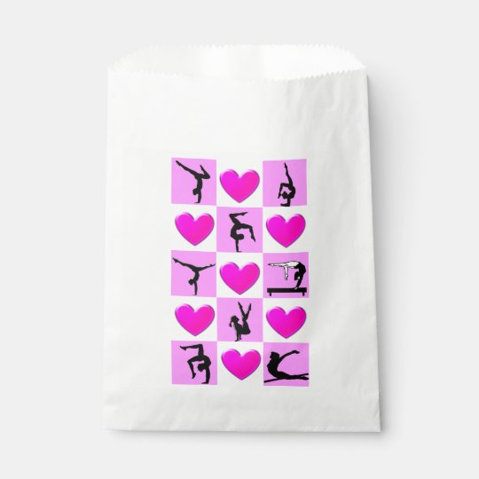 PRETTY PINK HEART GYMNASTICS PARTY BAGS