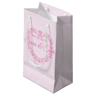 Pretty Pink Heart Personnalised Wedding/Occasion Small Gift Bag