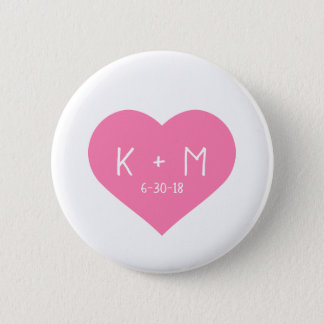 Pretty Pink Heart White Handwriting Initials Date 2 Inch Round Button