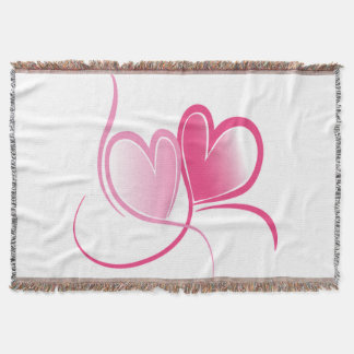 Pretty Pink Hearts Blanket Throw