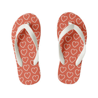 Pretty pink hearts on red kid's flip flops