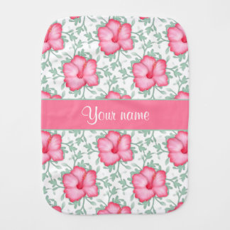 Pretty Pink Hibiscus Flowers Baby Burp Cloths