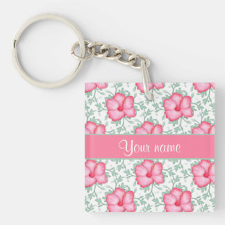 Pretty Pink Hibiscus Flowers Double-Sided Square Acrylic Keychain
