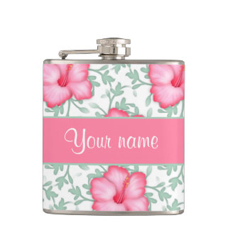 Pretty Pink Hibiscus Flowers Flasks