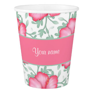 Pretty Pink Hibiscus Flowers Paper Cup