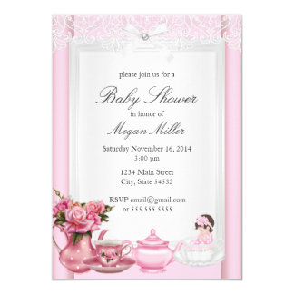 Pretty Pink High Tea Girl Baby Shower Card
