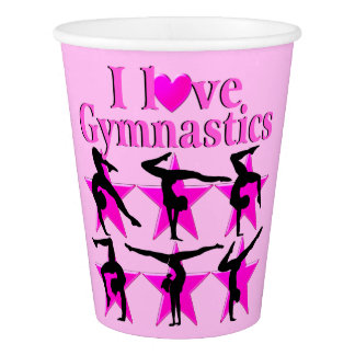 PRETTY PINK I LOVE GYMNASTICS PAPER PARTY CUPS