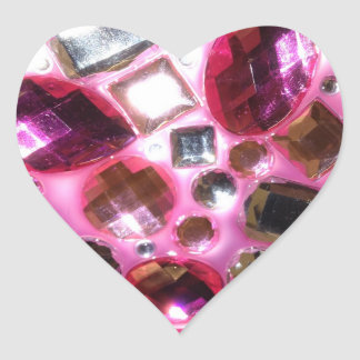 Pretty Pink Jewel Bling Heart Sticker