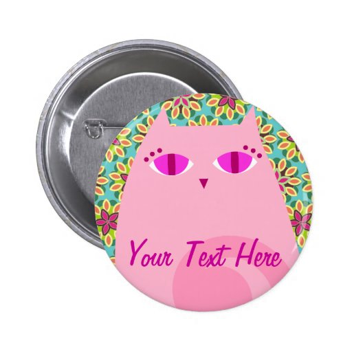 Pretty Pink Kitty on Floral - Custom Button Pin