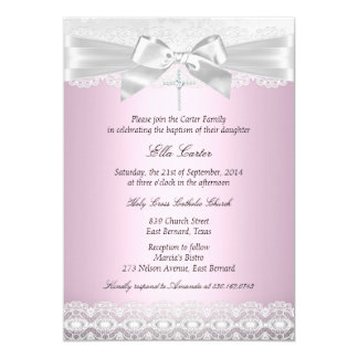 Pretty Pink Lace Cross Baptism Invite