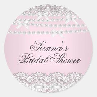 Pretty Pink Lace & Pearl Bridal Shower Sticker