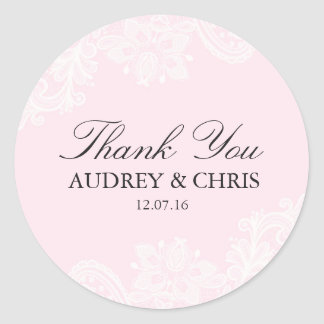 Pretty Pink Lace Thank You Wedding Sticker