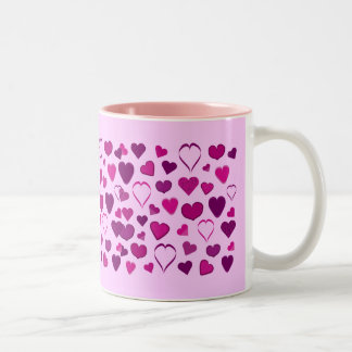 Pretty pink & lilac cartoon hearts mug