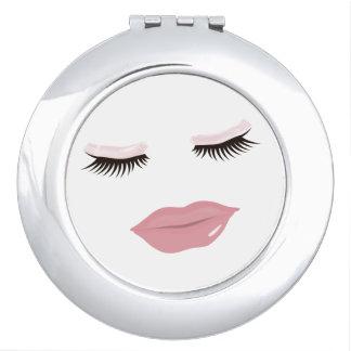 Pretty Pink Lips Round Compact Mirror