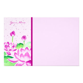 Pretty Pink Lotus Watercolor Painting Washi Paper
