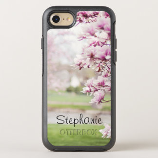 Pretty Pink Mongolia Tree Blossoms Personalized OtterBox Symmetry iPhone 8/7 Case