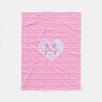 Pretty Pink Monogram Chevron Heart Fleece Blanket