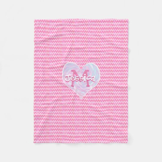 Pretty Pink Monogram Chevron Heart Fleece Blanket