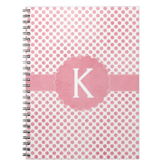 Pretty Pink Monogram Polka Dots Notebook