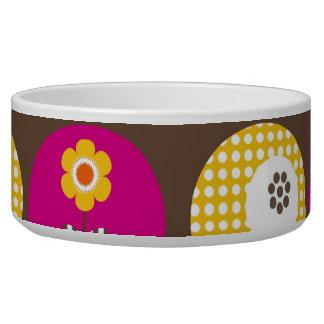 Pretty Pink Orange Yellow Flowers Polka Dot Print Pet Bowls