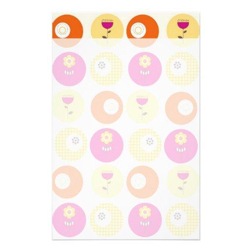 Pretty Pink Orange Yellow Flowers Polka Dot Print Stationery Paper